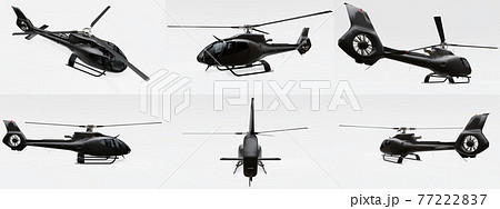 Set black helicopter isolated on the white background. 3d illustration. 77222837