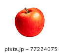 ripe picturesque red apple - drawing with colored pencils hand painted illustration. isolated on white background with clipping path for easy use 77224075