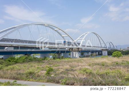 淀川左岸上流側から見る大阪モノレール淀川橋梁と鳥飼大橋 77228847