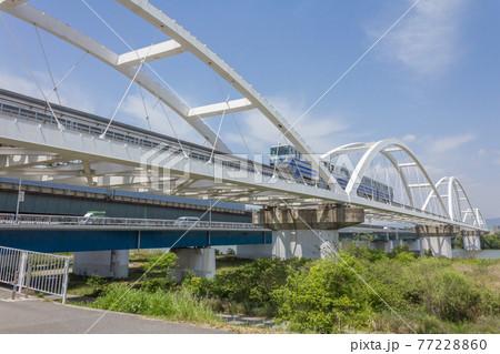 淀川左岸上流側の堤防から見る大阪モノレール淀川橋梁と鳥飼大橋 77228860