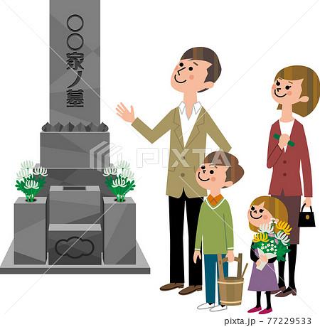 家族で墓参り 77229533