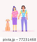 LGBTQ+ couple family. Vector of cute homosexual with baby in flat cartoon style. 77231468