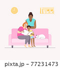 Diverse LGBTQ+ concept. Happy moment of lesbian couple with child sitting on sofa at home, flat vector illustration. 77231473