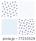 カエルとカタツムリの小紋柄, 77233529