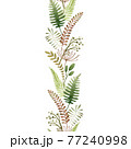 Green fern and forest herb seamless border. Watercolor illustration. Natural organic herb in elegant ornament. Hand drawn organic plant border. Elegant seamless decor. Isolated on white background 77240998