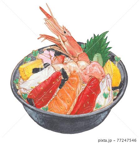 手描き飲食メニュー 海鮮丼 77247546