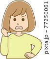 怒りで何かを訴えている女性のイラスト 77250061