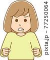 怒りで両手に力が入っている女性のイラスト 77250064