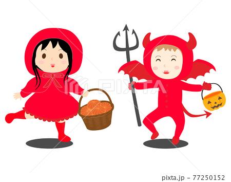 赤ずきんと悪魔の赤の仮装をした子供たちのベクターイラスト 77250152