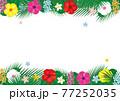 南国の花ハイビスカスとヤシの葉のフレーム. ベクターイラスト 77252035