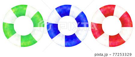 3色の浮き輪のイラスト 77253329