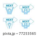 ネクストボタン・次へ進む/ 矢印を持つ人物 (男女) ベクターイラストセット 77253565