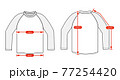 アパレル・ファッションコンテンツ用 サイズ表 ベクターイラスト / ラグラン Tシャツ 77254420