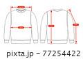 アパレル・ファッションコンテンツ用 サイズ表 ベクターイラスト / 長袖スウェットシャツ 77254422