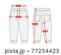 アパレル・ファッションコンテンツ用 サイズ表 ベクターイラスト / スウェットパンツ 77254423