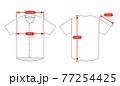 アパレル・ファッションコンテンツ用 サイズ表 ベクターイラスト / ベースボールシャツ 77254425
