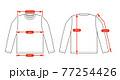 アパレル・ファッションコンテンツ用 サイズ表 ベクターイラスト / 長袖 Tシャツ 77254426