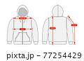 アパレル・ファッションコンテンツ用 サイズ表 ベクターイラスト / ジップスウェットパーカー 77254429