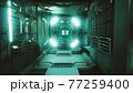 dark space ship futuristic interior 77259400