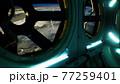 dark space ship futuristic interior 77259401