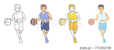 バスケットボール ドリブル 色違い 77260298