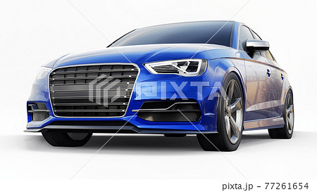 Super fast sports car color blue metallic on a white background. Body shape sedan. Tuning is a version of an ordinary family car. 3d rendering. 77261654