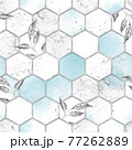 Marble hexagon seamless texture with silver leaves. Abstract background 77262889