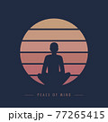 peace of mind yoga meditaion person at sunset graphic 77265415