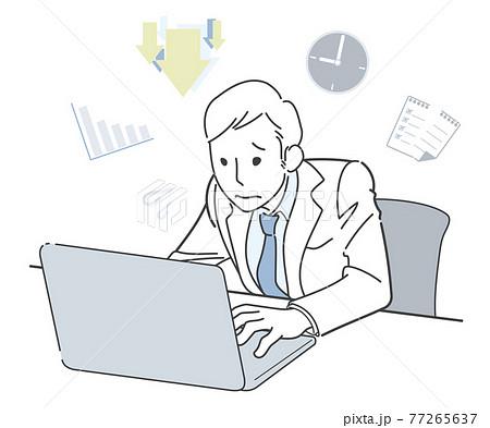 追い込まれながら仕事するビジネスマン 77265637