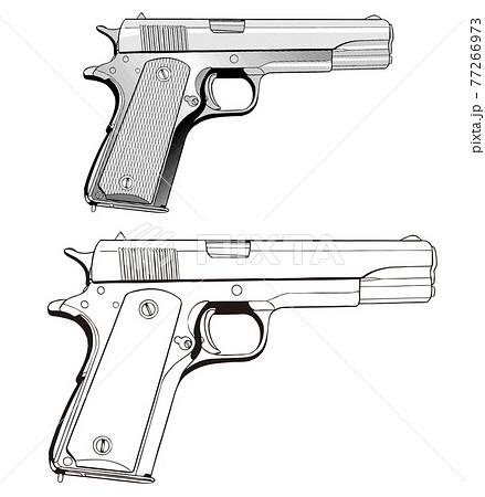 銃,GUN,イラスト,45,アメリカ,02 77266973