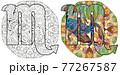 Scorpio zodiac sign with mandala cute cartoon character retro zentangle stylized in vector for coloring 77267587
