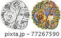 Leo zodiac sign with mandala cute cartoon lion character retro zentangle stylized in vector 77267590
