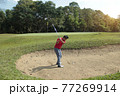 Golfer playing golf in the evening golf course, on sun set evening time. Man playing golf on a golf course in the sun. 77269914