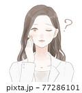 疑問を持っている女性医師 77286101