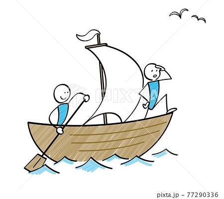 船で航海する船乗り 棒人間のイラスト 77290336
