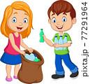 Cartoon kids gathering plastic bottles into garbage bag 77291964