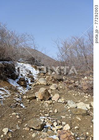 栃木県残雪の残る那須登山道の風景 77292003