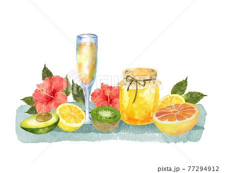 果物と蜂蜜とハイビスカスとジュース 77294912