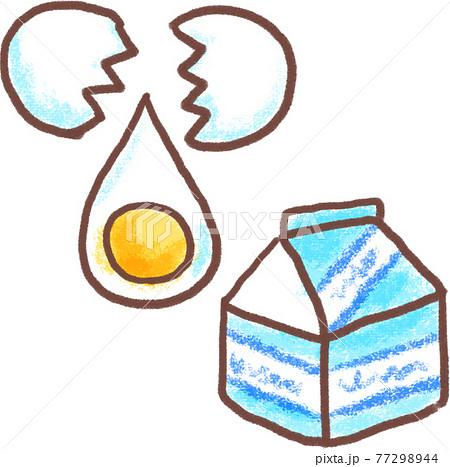 割った卵と生クリームのパック_クレヨン画風 77298944
