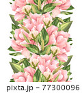 Seamless pattern with pink flowers on white background. Floral border 77300096