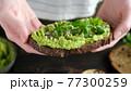 Female hands holding vegan avocado toast 77300259