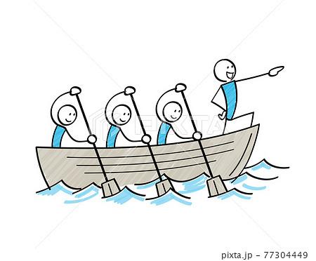 航海する棒人間 ボートを漕ぐ  77304449