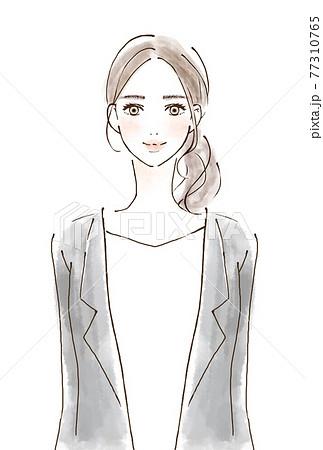 スーツを着た女性の人物イラスト 正面 笑顔 77310765
