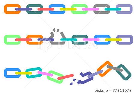 正常な鎖と破損している鎖のイラスト 77311078