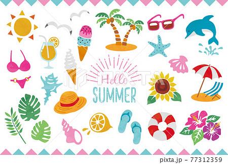 夏のイラスト素材セット 77312359