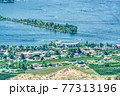 Resort area overview and residential houses on Osoyoos lake, British Columbia 77313196