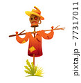 Scarecrow was put on a stick. Stylized cartoon character. Vector icon for decoration rural meadow 77317011
