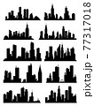 Cityscape silhouette collection. City buildings, night town and horizontal urban panorama silhouettes set. Skyline with windows in a flat style 77317018