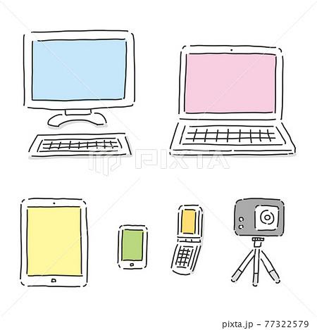 パソコンやスマートフォンなどPC関連のガジェットイラスト 77322579