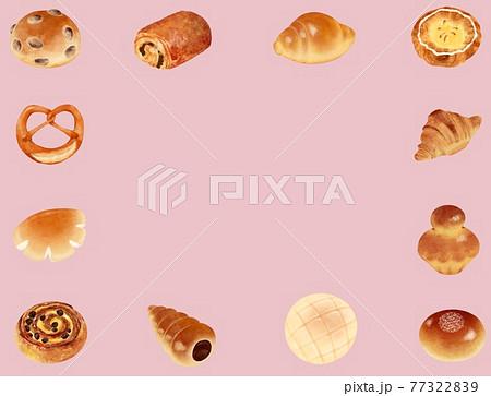いろいろパンのフレーム背景ピンク色 77322839